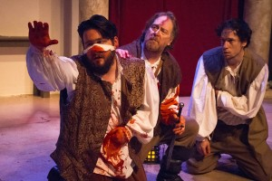 Stop in the name of love! L-R: Noah Luce, John Clark, and Danny Herter in GreenStage's Hard Bard production of John Webster's The Duchess of Malfi. Photo by Ken Holmes.