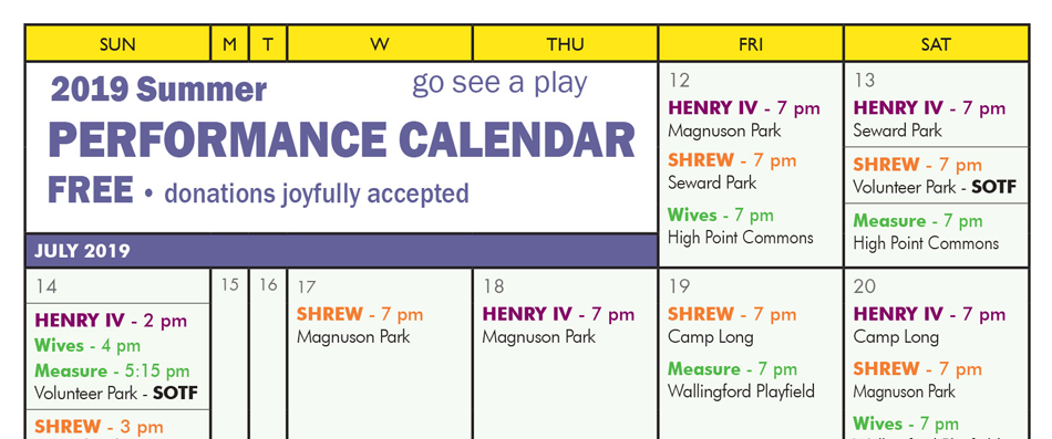 2019 Performance Calendar